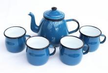 5 tlg. Set Teekanne + 4 Tassen 582AB+501w/7 Blau emailliert Kaffeekanne Emaille Email