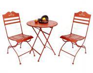 """Sitzgruppe """"Passion"""" Tisch mit 2 Stühle Set a.Metall Rot Gartenstuhl Gartentisch"""