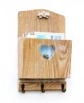 Wandorganizer Schlüsselhaken Holz mit Fach Vintage 29 cm 15005 Schlüsselboard Briefablage Wand Schlüsselkasten Schlüsselbrett Briefkorb