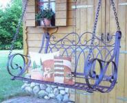 Schaukel Bank Hängebank aus Metall Schmiedeeisen mit Ketten Braun Gartenbank