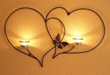 Doppelherz Wandteelichthalter Herz 65 cm Teelichthalter aus Metall Wandleuchter Kerzenhalter