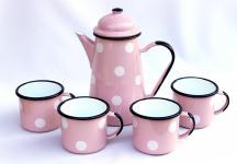 5 tlg. Set Kaffeekanne + 4 Tassen 578TB+501/8 Rosa mit weißen Punkten emailliert Emaille Email