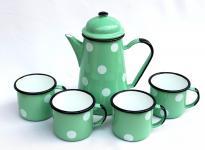 5 tlg. Set Kaffeekanne + 4 Tassen 578TB+501/8 Hellgrün mit weißen Punkten emailliert Emaille Email