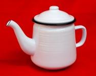 Teekanne 51228 Weiß 0, 8 L emailliert 15 cm Wasserkanne Kanne Kaffeekanne