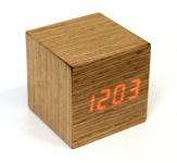 LED Digital Holzuhr Würfel mit Digitalanzeige Uhr Wecker Designuhr Sprach und Touchaktivierung