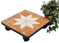 DanDiBo Blumenroller Mosaik 30 cm eckig 12026 Pflanzenroller Pflanzroller Viereckig Rollenuntersetzer