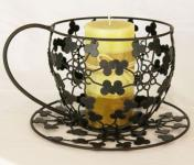 """Blumenständer Pflanzenständer Vase """"Teetasse"""" aus Metall 26cm Schwarz CH143"""