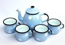 5 tlg. Set Teekanne + 4 Tassen 582AB+501w/7 Hellblau mit weißen Punkten emailliert Emaille