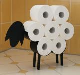 DanDiBo Toilettenpapierhalter Schwarz Metall Schaf WC Rollenhalter Freistehend WC Papierhalter Lustig
