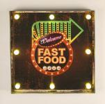 Leuchtschild 237681 FAST FOOD Wandschild LED Schild aus Metall 40 cm Display Hängeschild