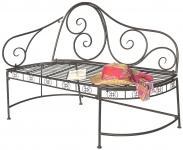 DanDiBo Gartenbank Wetterfest aus Metall Bank Sitzbank 2-Sitzer DY140486 Braun 120 cm Metallgartenbank mit Rückenlehne Parkbank Garten Antik