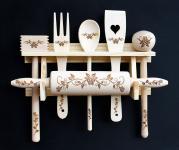 Küchenset 6 tlg. aus Holz mit Gravur Küchenhelfer Kochlöffel Teigrolle Küchenutensilien-Set