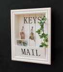 DanDiBo Wandorganizer Vintage Schlüsselbrett Holz mit Ablage 18SE011 Weiß 41 cm Schlüsselboard Briefablage Schlüsselkasten Shabby Chic Memoboard