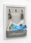 Schlüsselbrett Holz Schlüsselkasten 144255 Lieblingsheim Vintage Wandorganizer Weiß 37, 5 cm Schlüsselboard Briefablage Shabby Chic Memoboard