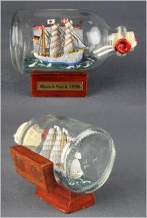 Buddelschiff Gorch Fock 7, 2x4, 5 cm Kühlschrankmagnet mit 2 Stück 10x3 mm Neod...