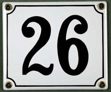Hausnummernschild 26 weiß 12x14 cm sofort lieferbar Schild Emaille Hausnummer...
