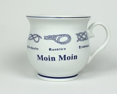 Moin Moin Kaffeebecher mit Seemannsknoten bauchig Becher Kaffeetasse Kaffee Pott