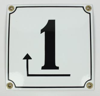 1 Pfeil links um die Ecke weiß Clarendon 14x14 cm sofort lieferbar Schild Ema...