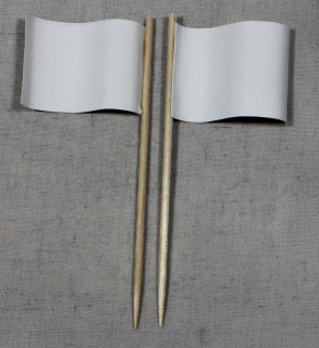 Party-Picker Flagge Uni Weiß Papierfähnchen in Spitzenqualität 50 Stück Beutel