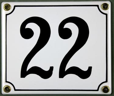 Hausnummernschild 22 weiß 12x14 cm sofort lieferbar Schild Emaille Hausnummer...