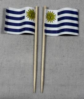 Party-Picker Flagge Uruguay Papierfähnchen in Spitzenqualität 50 Stück Beutel