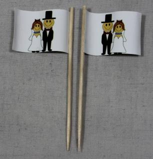 Party-Picker Flagge Hochzeit 2 Brautpaar Papierfähnchen in Spitzenqualität 50...