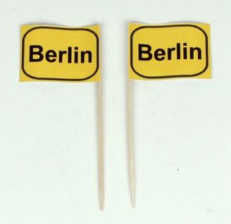 Party-Picker Flagge Ortsschild Berlin Papierfähnchen in Spitzenqualität 50 St...