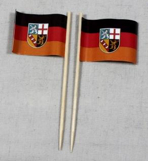 Party-Picker Flagge Saarland Papierfähnchen in Spitzenqualität 50 Stück Beutel