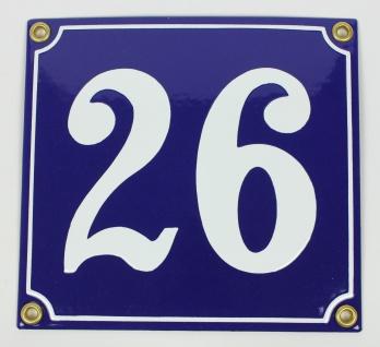 26 blau Clarendon 14x15 cm sofort lieferbar Schild Emaille Hausnummer