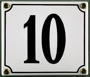 Hausnummernschild 10 weiß 12x14 cm sofort lieferbar Schild Emaille Hausnummer...