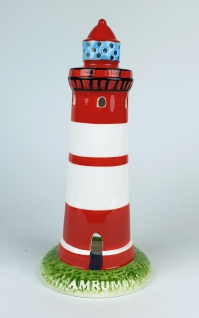 Leuchtturm Modell Amrum 20, 5cm mit Teelichthalter Keramik Leuchtturmmodell