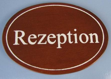 Ovales Holz - Türschild Rezeption 7x10 cm dunkles Holzschild