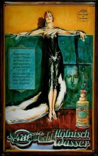 Blechschild 4711 Frau schwarzes Kleid Eau de Cologne Kosmetik kölnisch Wasser...