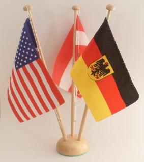 Tischflaggenständer Holz 3-fach Höhe 42 cm für 15x25 cm Tischflaggen Tischfah...