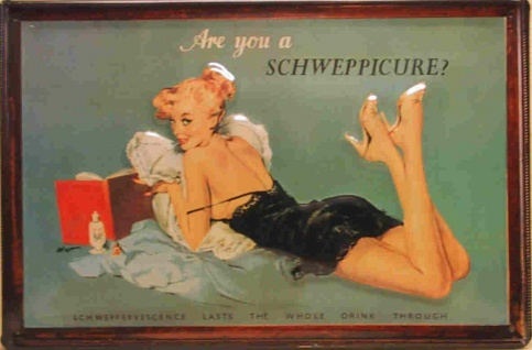 Blechschild Schweppes Schweppicure Tonic Water Frau retro Schild Werbeschild