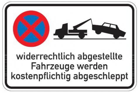 Aluminium Parkplatzschild widerrechtlich abgestellte Fahrzeuge 650x800 mm gla...