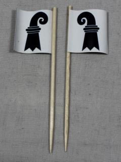 Party-Picker Flagge Basel Kanton Schweiz Papierfähnchen in Spitzenqualität 50...