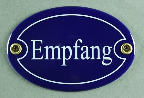 Emaille Türschild Empfang blau oval Schild Toilettenschild Emailleschild Meta...