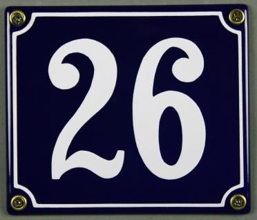 Hausnummernschild Emaille 26 blau - weiß 12x14 cm sofort lieferbar Schild Ema...