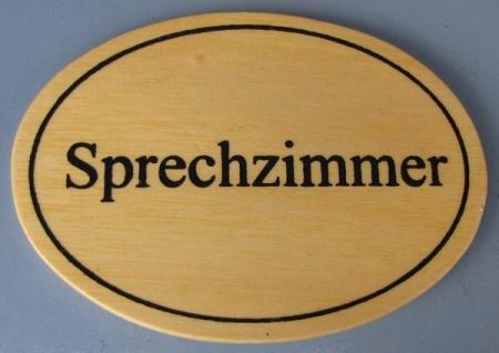 Ovales Holz - Türschild Sprechzimmer 7x10 cm helles Holzschild
