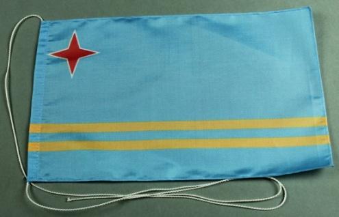 Tischflagge Aruba 25x15 cm optional mit Holz- oder Chromständer Tischfahne Ti...