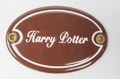 Harry Potter braun / weiß oval 10, 5x7 cm sofort lieferbar Schild Emaille Name...