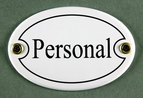 Emaille Türschild Personal weiss oval Schild