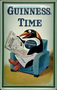 Blechschild Guinness Bier Time Pinguin Zeitung Sessel Nostalgie Schild Werbes...