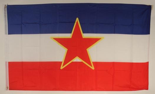 Flagge Fahne : Jugoslawien mit Stern Jugoslawienflagge Nationalflagge Nationa...