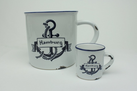 """2er Set Hamburg Anker + Mini Becher Kaffeebecher Kaffeepott weiß BLAU """" Rusty""""..."""