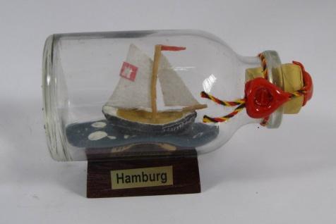 1-Mast Segler HAMBURG Mini Buddelschiff 20 ml 5, 3x3 cm Flaschenschiff