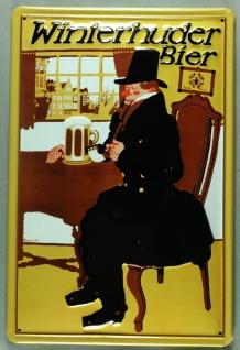 Blechschild Winterhuder Bier Brauerei Hamburg Schild nostalgisches Werbeschild