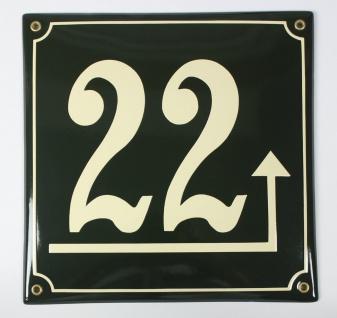 22 Dunkelgrün/Creme Pfeil rechts hoch 25x25 cm sofort lieferbar Schild Emaill...