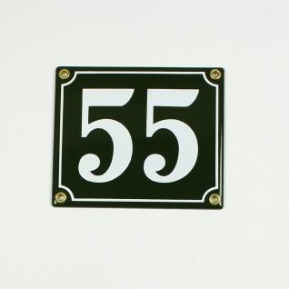 55 grün Clarendon 14x12 cm sofort lieferbar 2-stellig Schild Emaille Hausnummer